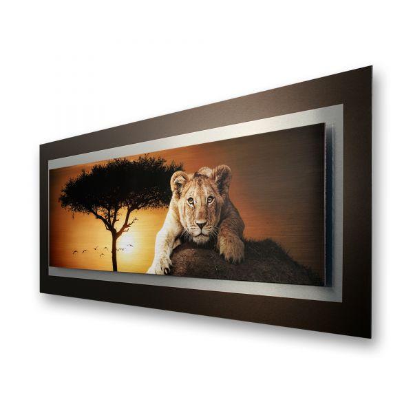 "3D Alu-Wandbild ""Afrika"" aus gebürstetem Aluminium"