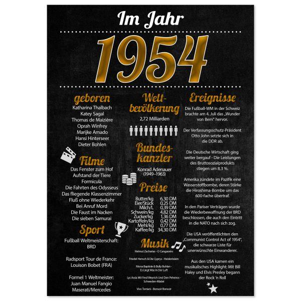 1954 Poster | für Geburtstag, Jubiläum oder Hochzeitstag | Party-Schild | A4 oder A3