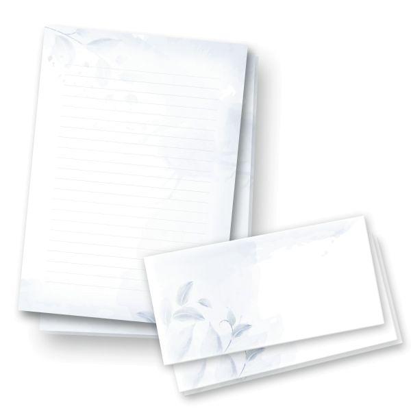Briefpapier-Set   Blaue Blätter   25x DIN A4 Briefpapier liniert mit passenden Umschlägen