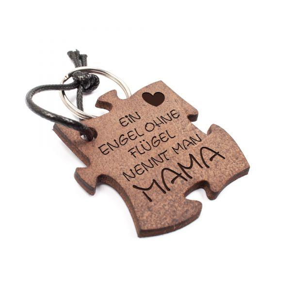 Schlüsselanhänger Puzzle aus Echtleder mit Gravur im Used Look | Engel Mama