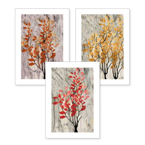 3-teiliges Poster-Set   Herbstbäume   optional mit Rahmen   DIN A4 oder A3