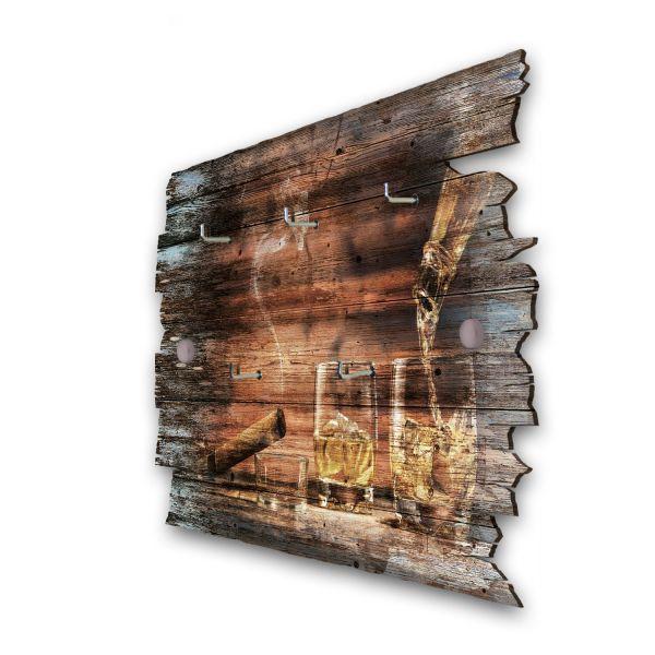 Whisky & Zigarre Schlüsselbrett mit 5 Haken im Shabby Style aus Holz
