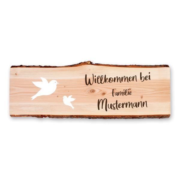 Vögel | Holzschild personalisiert mit Ihrem Wunsch-Text | ideale Deko für die Haustür