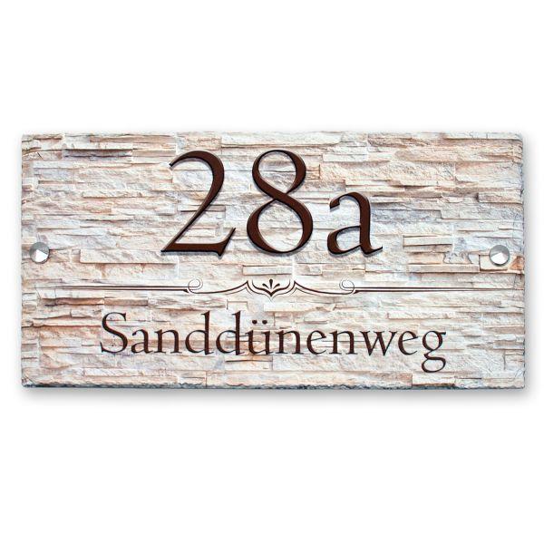 """Hausnummerschild """"Elegante Linie"""" aus Naturschiefer"""