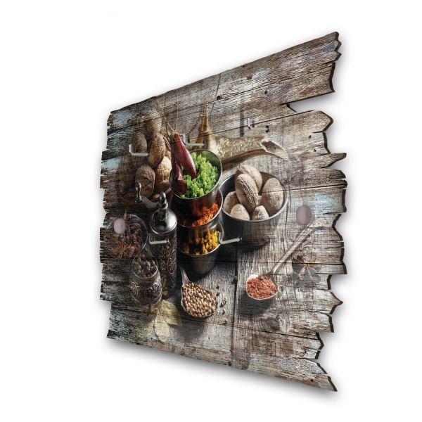 Exotische Gewürze Schlüsselbrett mit 5 Haken im Shabby Style aus Holz