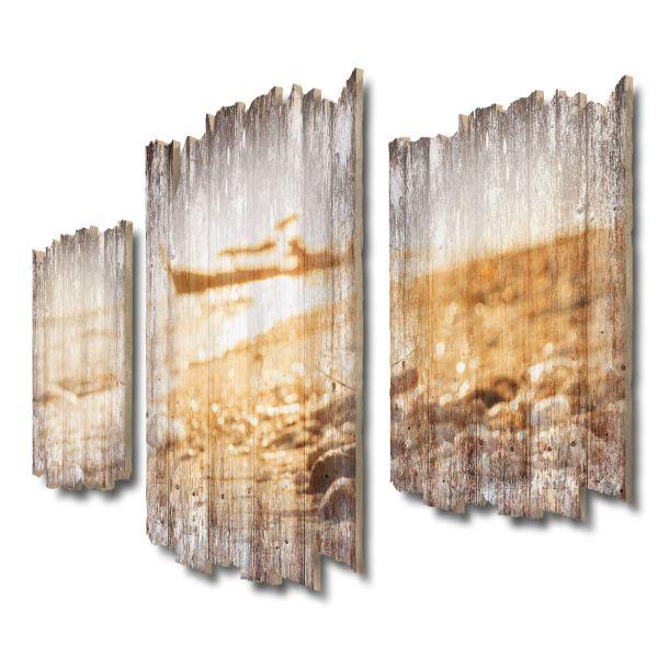 Boot am Strand Shabby chic 3-Teiler Wandbild aus Massiv-Holz