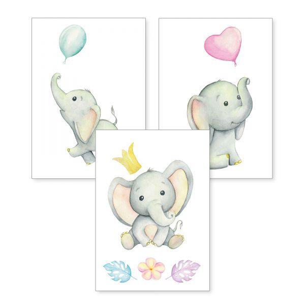 3-teiliges Poster-Set | Elefanten | optional mit Rahmen | DIN A4 oder A3
