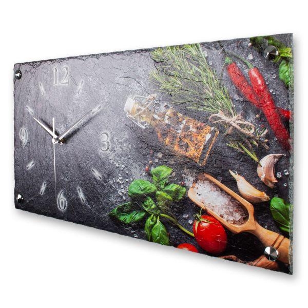 """Designer Wanduhr """"Frische Küche"""" aus echtem Naturschiefer mit leisem Funk- oder Quarzuhrwerk"""