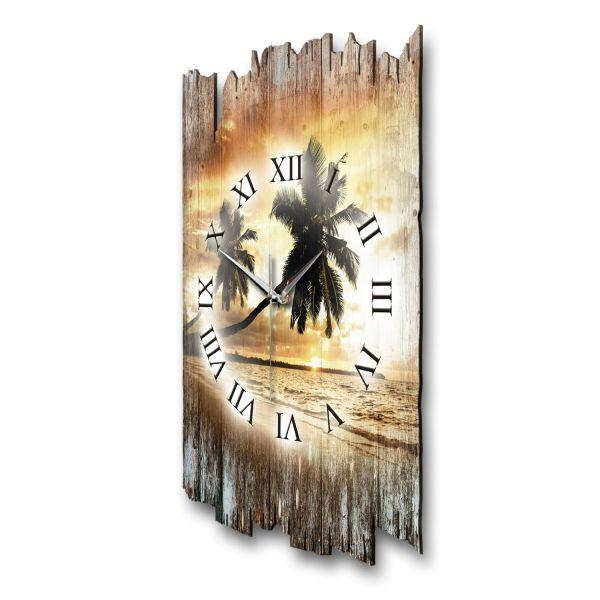 """Designer Funk-Wanduhr """"Palmen Sonnenuntergang"""" aus Naturholz mit leisem Funk- oder Quarzuhrwerk"""
