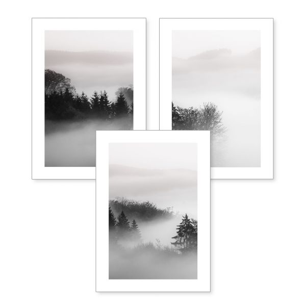 3-teiliges Poster-Set | Nebelwald | optional mit Rahmen | DIN A4 oder A3