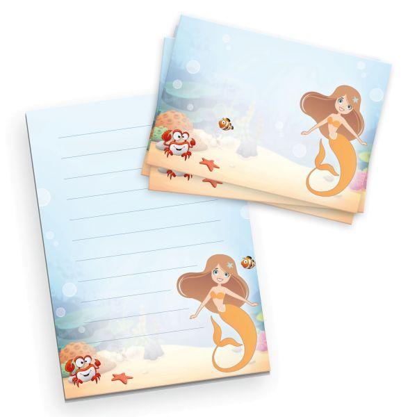 Briefpapier-Set für Kinder | Meerjungfrau | DIN A5 Briefpapier-Block 50 Blatt mit 20 Umschlägen