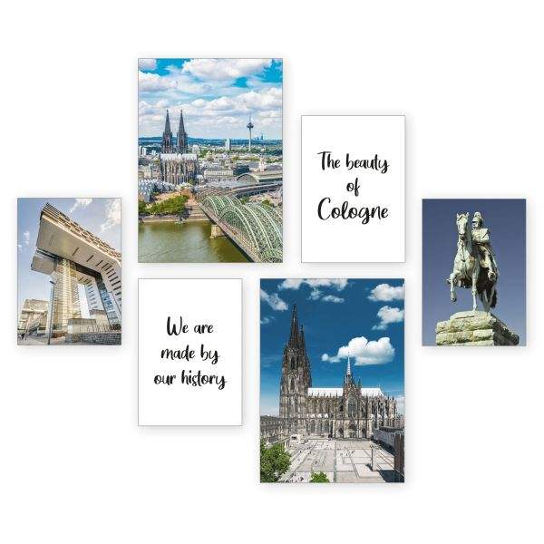 """Köln"" 6-teiliges Poster-Set - optional mit Rahmen - 2 x DIN A3 & 4 x DIN A4"