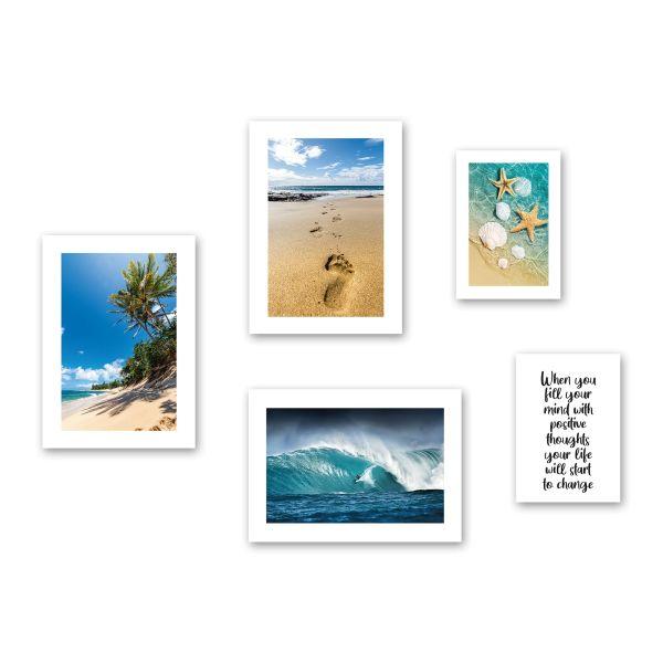 """Strand"" 5-teiliges Poster-Set - optional mit Rahmen - 3x DIN A3 & 2x DIN A4"
