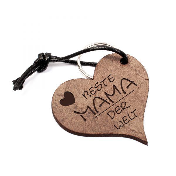 Schlüsselanhänger Herz aus Echtleder mit Gravur im Used Look | beste Mama der Welt