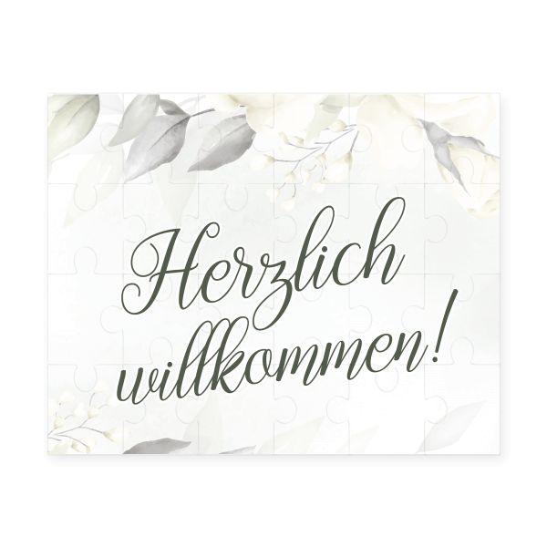 """Puzzle """"Herzlich willkommen"""" inkl. Jutesäckchen   versch. Designs   Glückwunsch   tolles Geschenk"""