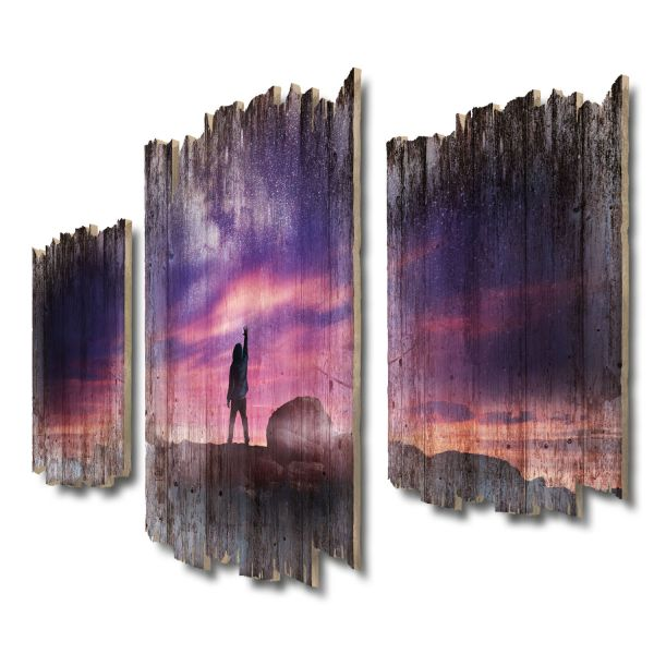 Greife nach den Sternen Shabby chic 3-Teiler Wandbild aus Massiv-Holz