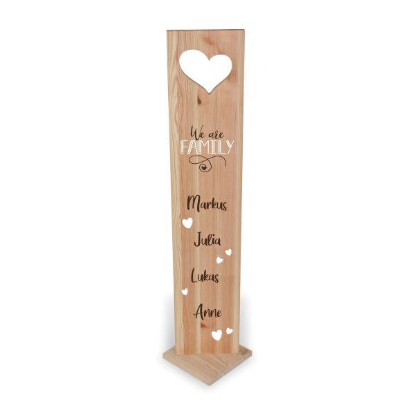 Family | Holzstele personalisiert mit Ihrem Wunsch-Text | ideale Deko für Haustür oder Flur