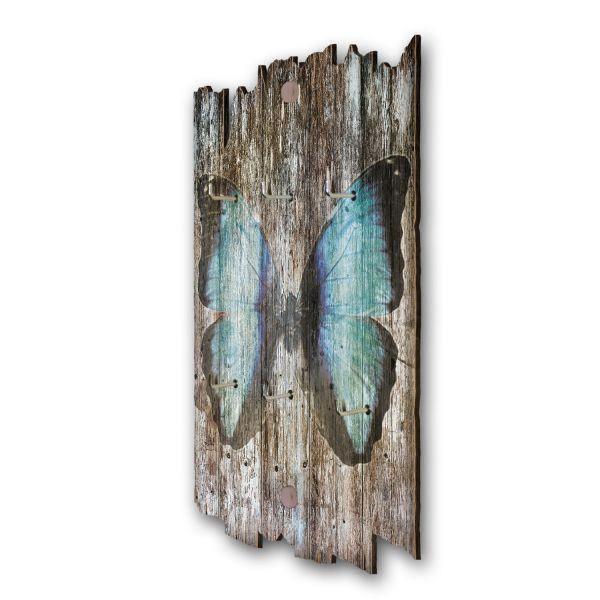 Schmetterling Schlüsselbrett mit 6 Haken im Shabby Style aus Holz