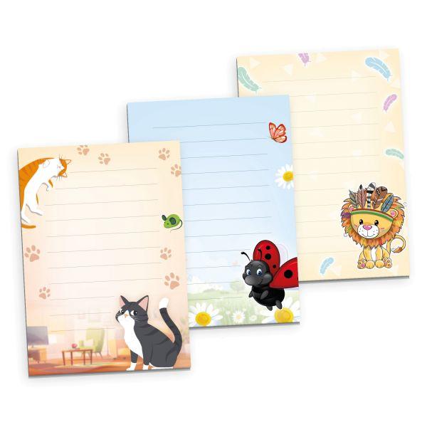 3er Briefpapier-Set für Kinder | Cute Animals | 3 DIN A5 Briefpapier-Blöcke à 50 Blatt