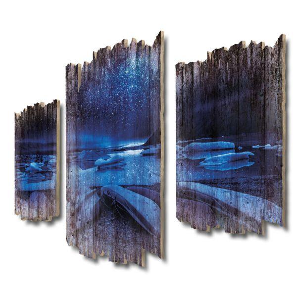 Gletscher Island Shabby chic 3-Teiler Wandbild aus Massiv-Holz