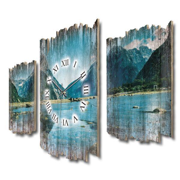 Milford Sound Neuseeland Shabby chic Dreiteilige Wanduhr aus MDF mit leisem Funk- oder Quarzuhrwerk