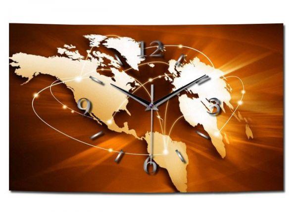 Wanduhr Weltkarte aus gebürstetem Aluminium mit leisem Funkuhrwerk