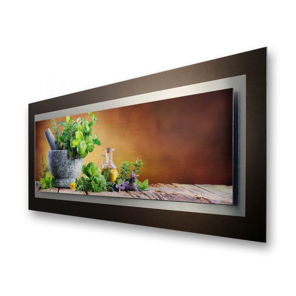 """3D Alu-Wandbild """"Küchenkräuter"""" aus gebürstetem Aluminium"""