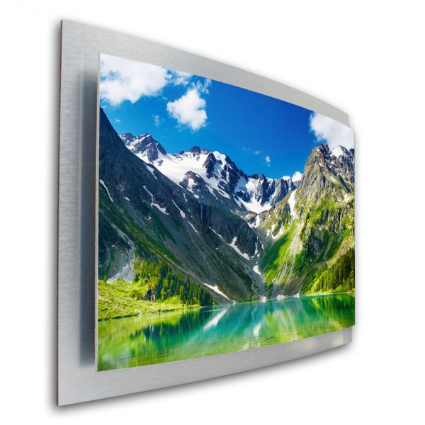 3D Wandbild Bergsee Berge aus gebürstetem Aluminium
