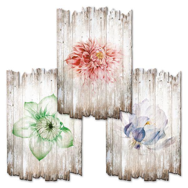 Bunte Blüten | Deko-Holzschilder im 3er Set | wahlw. in 30x20cm oder 30x45cm