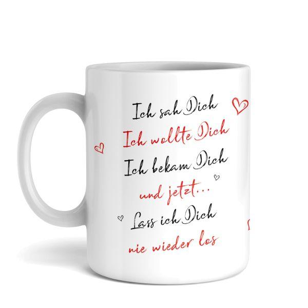 Tasse mit Motiv   Ich sah dich   Keramiktasse   fasst ca. 300ml   ideales Geschenk
