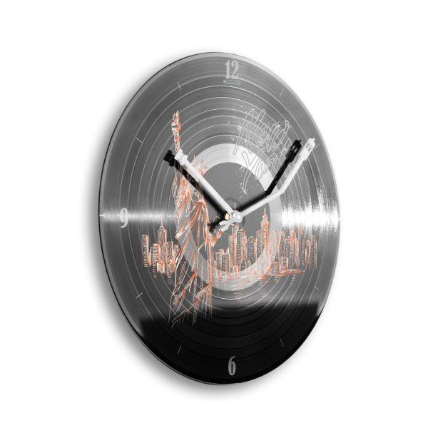 """Schallplattenuhr """"New York"""" wahlw. mit leisem Funk- oder Quarzuhrwerk"""