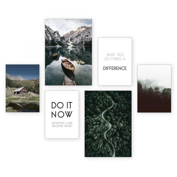 """""""Do It Now"""" 6-teiliges Poster-Set - optional mit Rahmen - 2 x DIN A3 & 4 x DIN A4"""