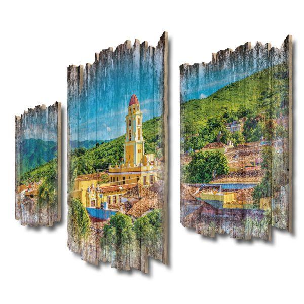 Cuba-Panorama Shabby chic 3-Teiler Wandbild aus Massiv-Holz