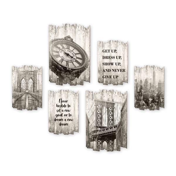 City | Shabby chic | 6-teiliges Wandbilder-Set aus Holz