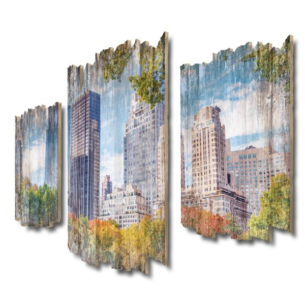 New York Central Park Shabby chic 3-Teiler Wandbild aus Massiv
