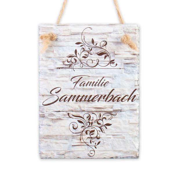 Ornamente | Türschild aus Schiefer mit Ihrem Wunschtext | in Beige oder Schwarz