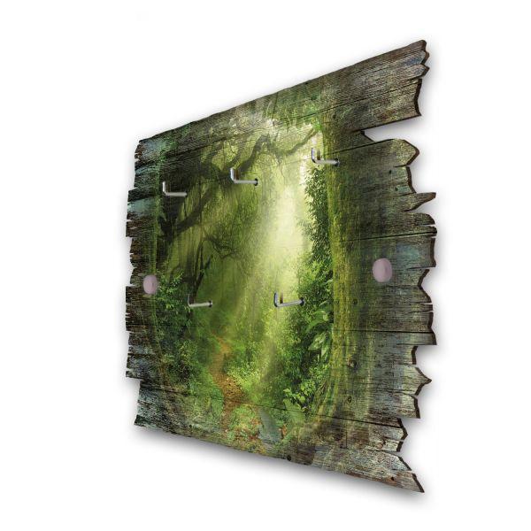 Dschungel Schlüsselbrett mit 5 Haken im Shabby Style aus Holz
