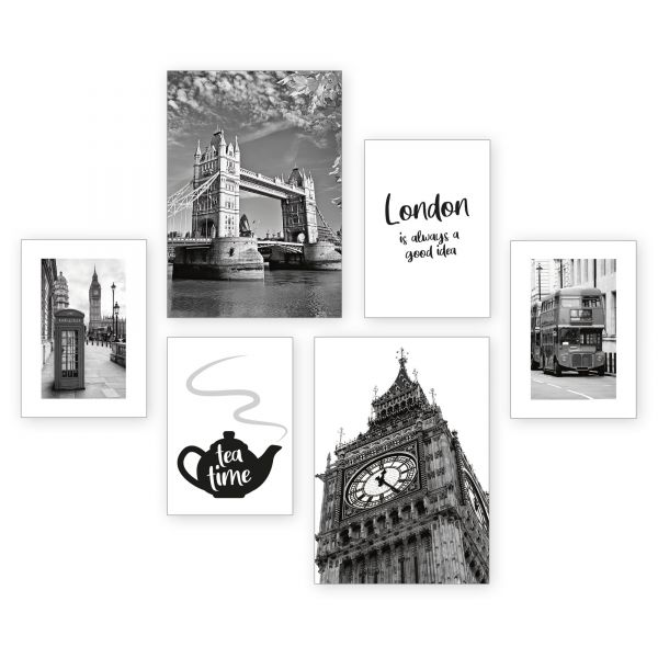 """""""London"""" 6-teiliges Poster-Set - optional mit Rahmen - 2 x DIN A3 & 4 x DIN A4"""