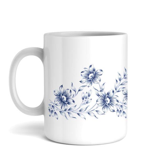 Tasse mit Motiv | Blaue Blumen | Keramiktasse | fasst ca. 300ml | ideales Geschenk