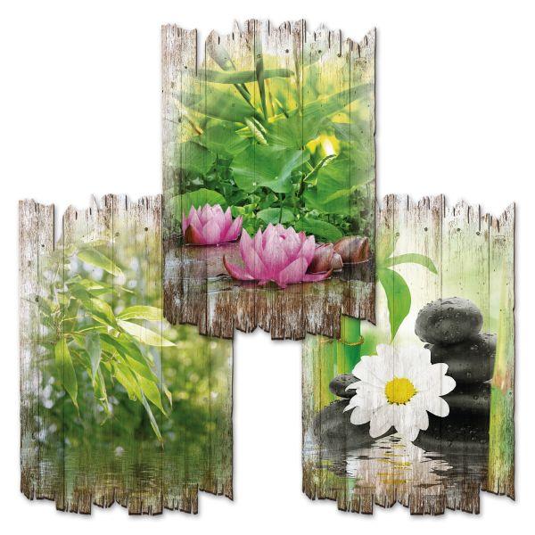 Entspannung | Deko-Holzschilder im 3er Set | wahlw. in 30x20cm oder 30x45cm