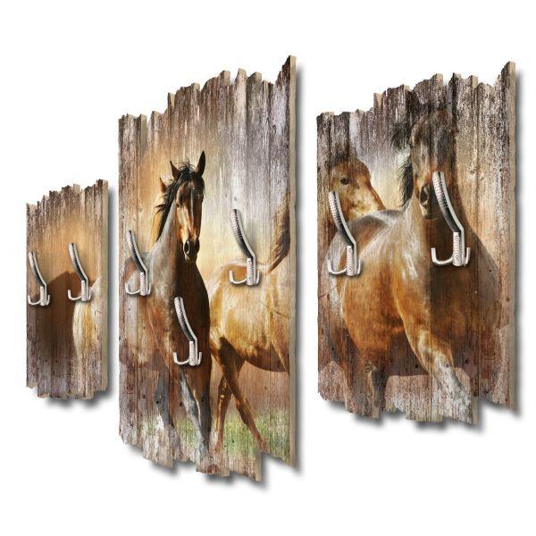 Pferdeherde Shabby chic 3-Teiler Garderobe aus MDF