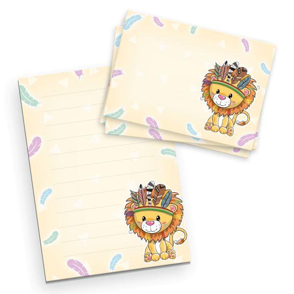 Briefpapier-Set für Kinder | Löwe | DIN A5 Briefpapier-Block 50 Blatt mit 20 Umschlägen
