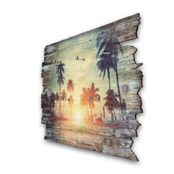 Tropischer Sonnenuntergang Schlüsselbrett mit 5 Haken im Shabby Style aus Holz