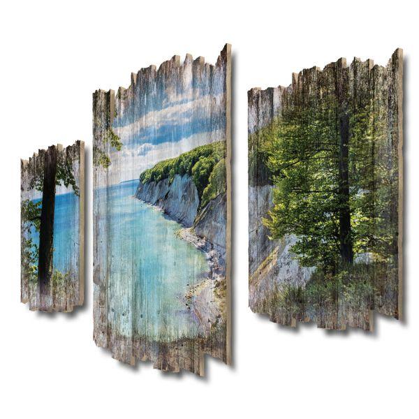 Kreidefelsenküste Shabby chic 3-Teiler Wandbild aus Massiv-Holz
