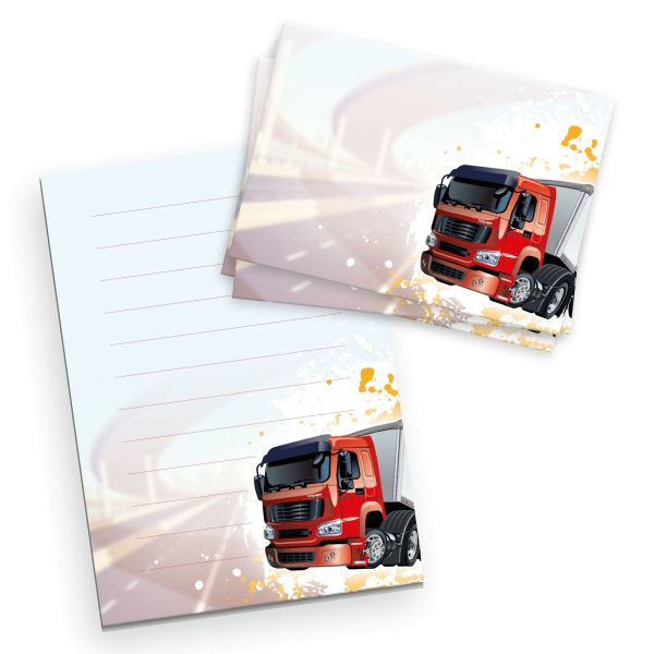 Briefpapier-Set für Kinder   LKW   DIN A5 Briefpapier-Block 50 Blatt mit 20 Umschlägen