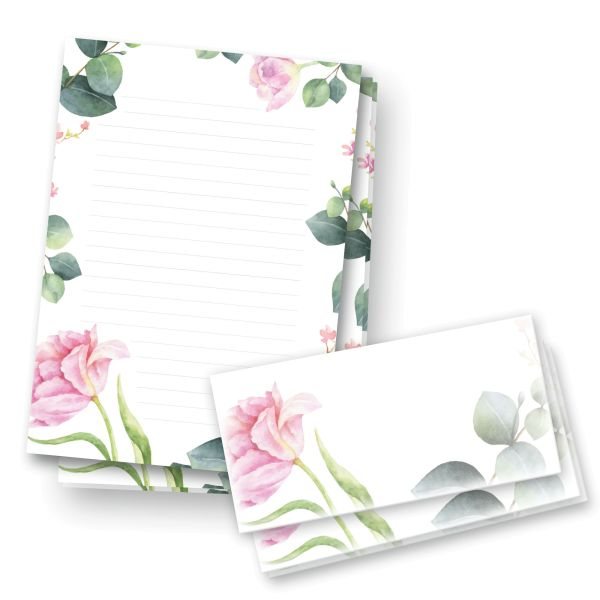 Briefpapier-Set   Rosa Blüten   25x DIN A4 Briefpapier liniert mit passenden Umschlägen