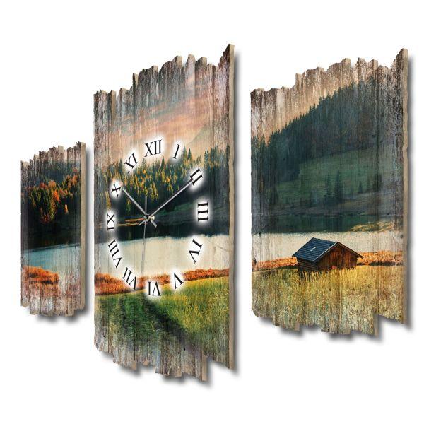 Hütte am abendlichen See Shabby chic Dreiteilige Wanduhr aus MDF mit leisem Funk- oder Quarzuhrwerk