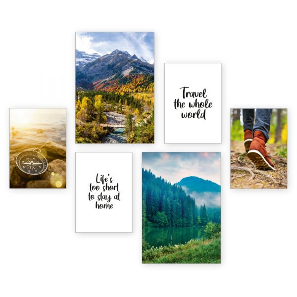 """Travel"" 6-teiliges Poster-Set - optional mit Rahmen - 2 x DIN A3 & 4 x DIN A4"