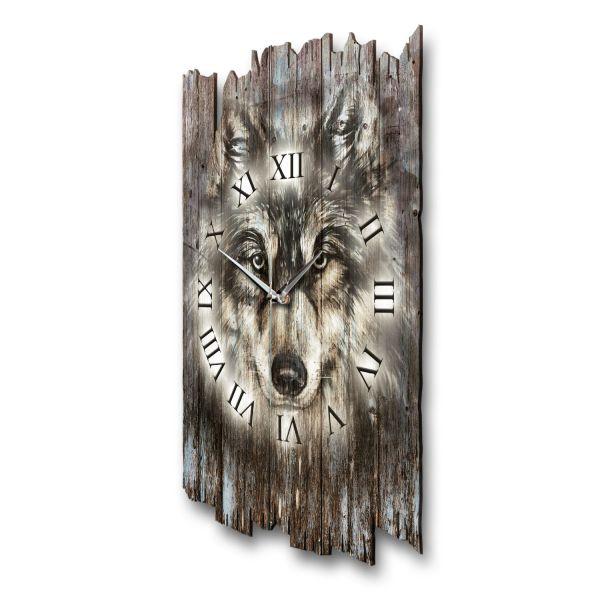 """Designer Funk-Wanduhr """"Wolf"""" aus Naturholz mit leisem Funk- oder Quarzuhrwerk"""