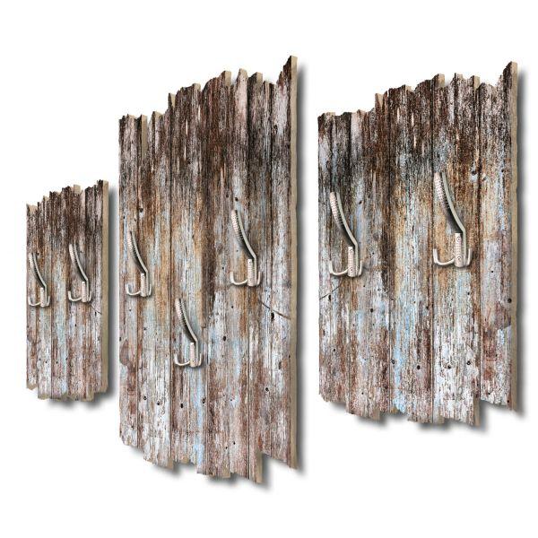 Holzoptik dunkel Shabby chic 3-Teiler Garderobe aus MDF
